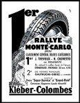 Kleber-Colombes Pneu rallye de Monte-Carlo - Publicite Automobile de 1951